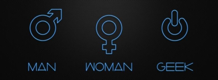 Geek woman man couverture facebook