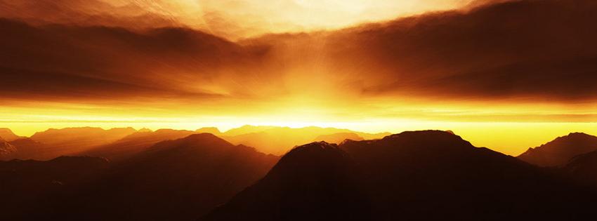 Paysage montagne crépuscule couverture facebook