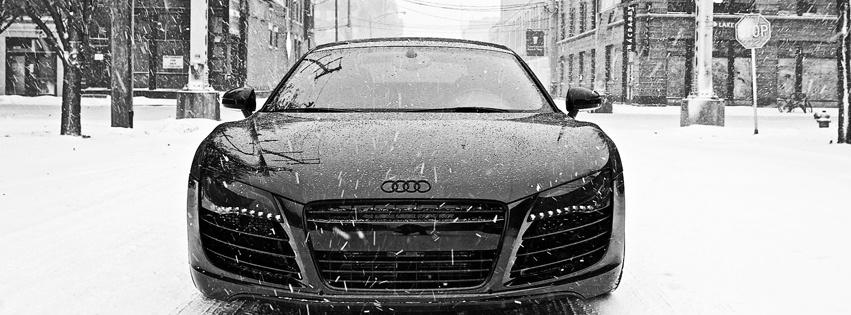 Audi R8 dans la neige couverture facebook