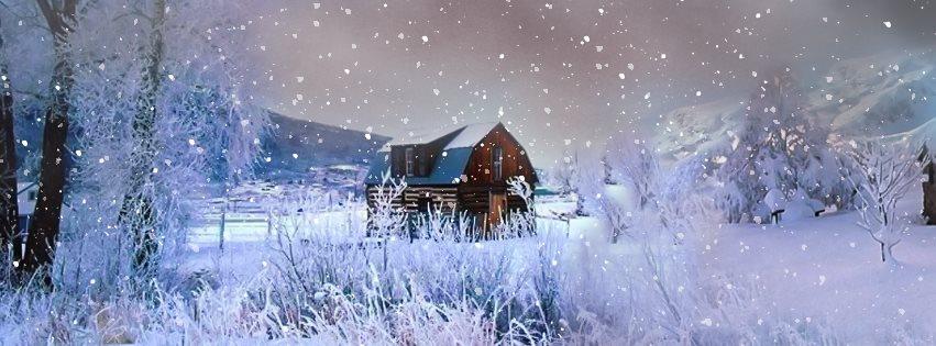 Chalet dans la neige couverture facebook