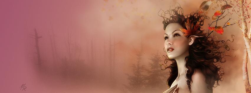 Feuille automne dans les cheveux