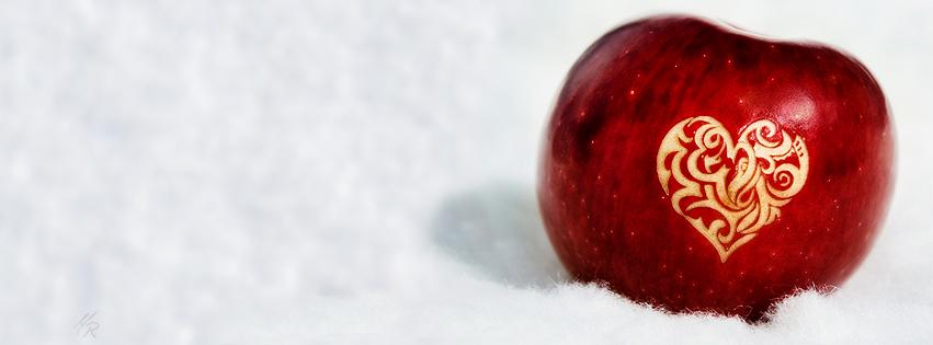 Coeur dans une pomme couverture facebook